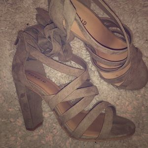 Taupe strappy lace-up heel sandal